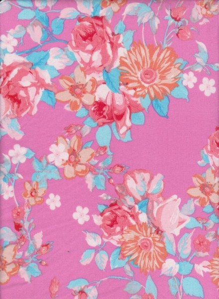 Summer Flowers on  Hot Pink Double Brushed Poly Lycra