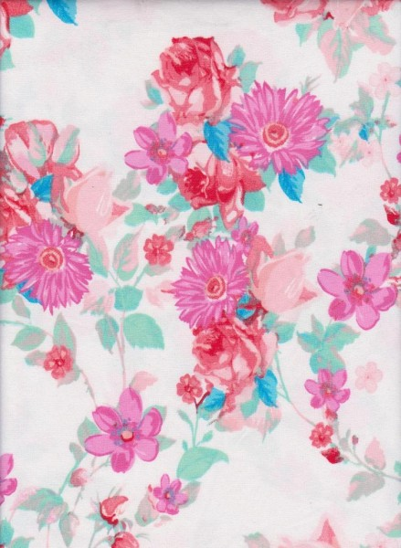 Summer Flowers on White Double Brushed Poly Lycra