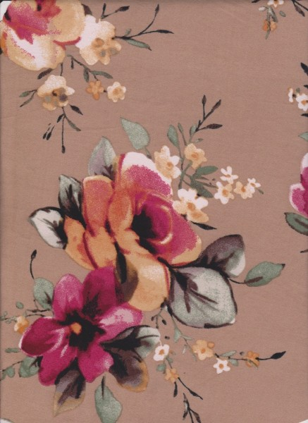 Picturesque Flowers on Beige Double Brushed Poly Lycra Jersey