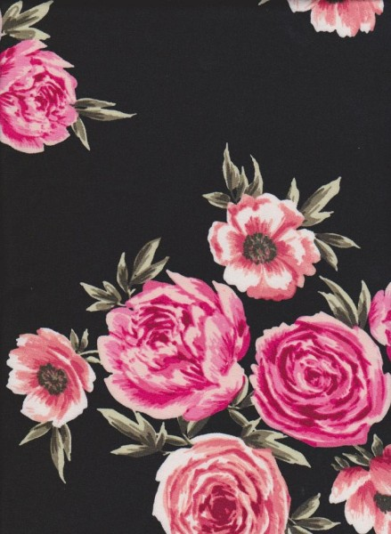 Roses on Black Double Brushed Poly Lycra Jersey