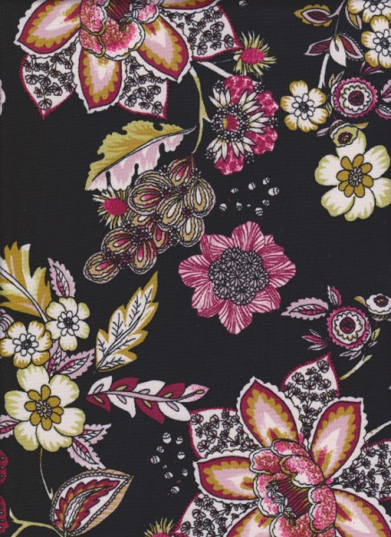 Flowers on Black Double Brushed Poly Lycra Jersey