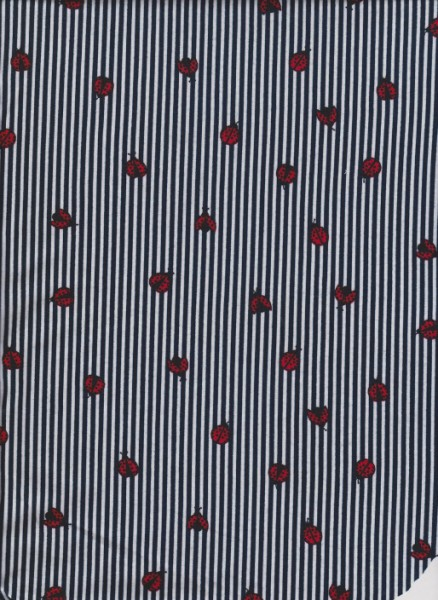 Lady Bugs and Navy Vertical Stripe on Double Brushed Poly Lycra Jersey