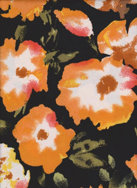 New Age Sun Flowers on Black Double Brushed Poly Lycra