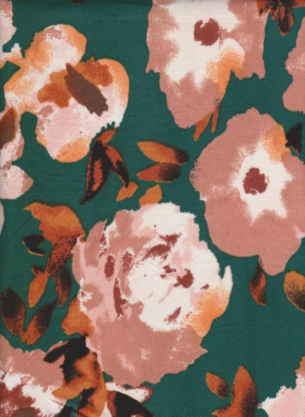 New Age Florals on Dark Teal  Double Brushed Poly Lycra