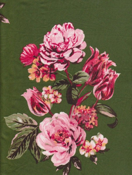 Picturesque Flowers on Green Double Brushed Poly Lycra