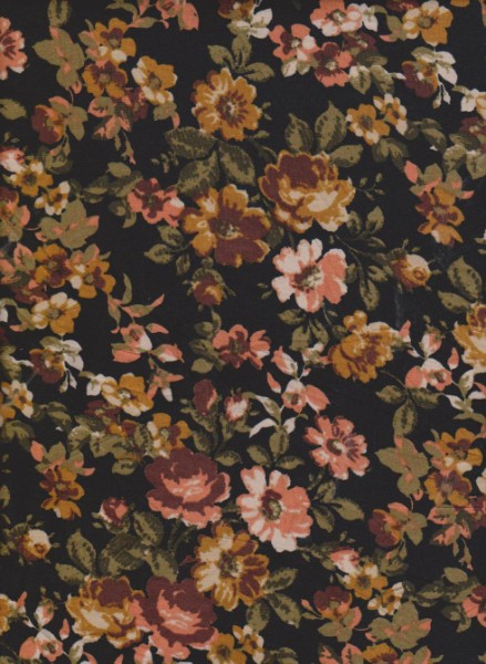 Summer Flowers on Black  Double Brushed Poly Lycra