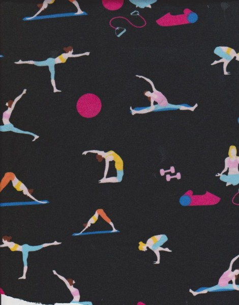 Yoga  Positions on Black Double Brushed Poly Lycra
