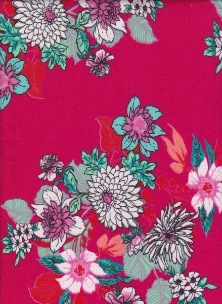 Cute Flowers on Fuchsia Double Brushed Poly Lycra