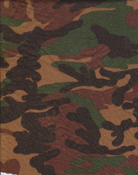 Camo with Glitters on Double Brushed Poly Lycra
