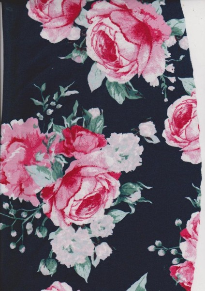 Roses on Navy Double Brushed Poly Lycra