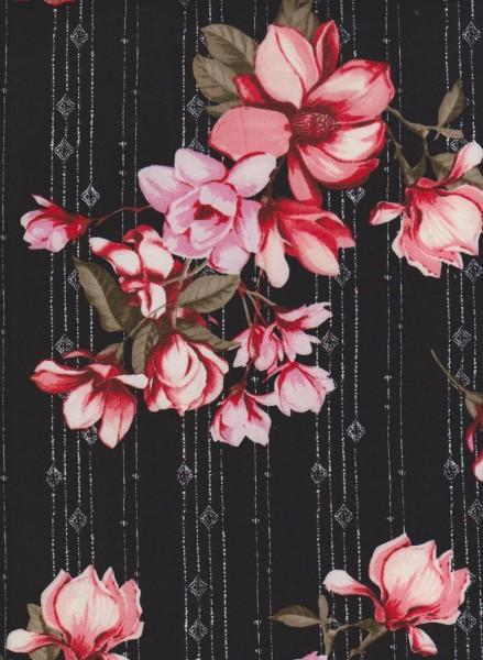 Shabby Flowers on Black Double Brushed Poly Lycra