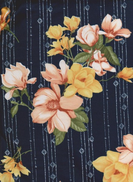 Shabby Flowers on Navy Double Brushed Poly Lycra