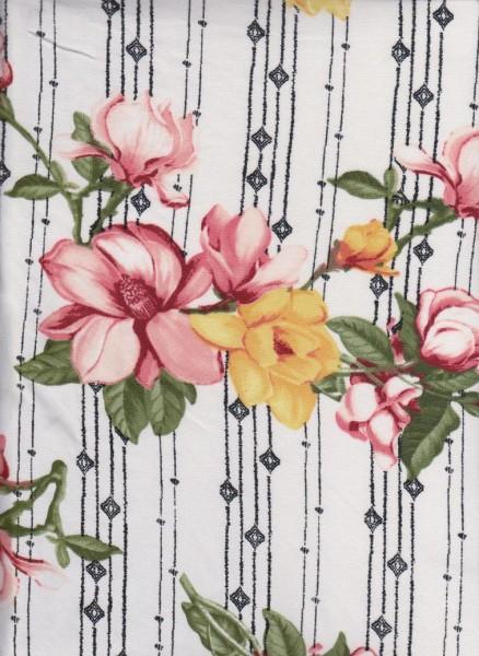 Shabby Flowers on Ivory  Double Brushed Poly Lycra