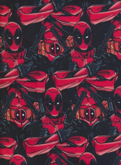 Deadpool  on Black Cotton Lycra Jersey