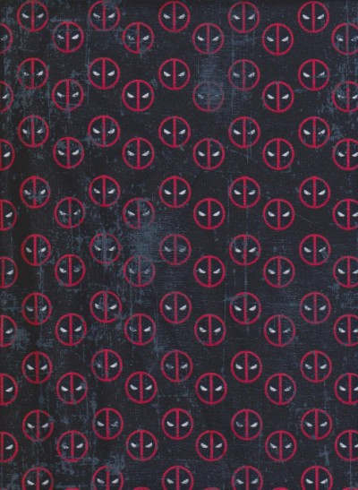 Deadpool Face on Black Cotton Lycra Jersey