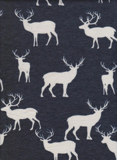 Deer on Denim Blue Rayon Poly Lycra French Terry