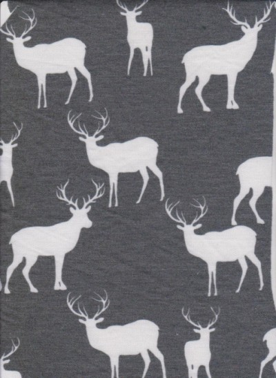 Deer on Heather Gray  Rayon Poly Lycra French Terry