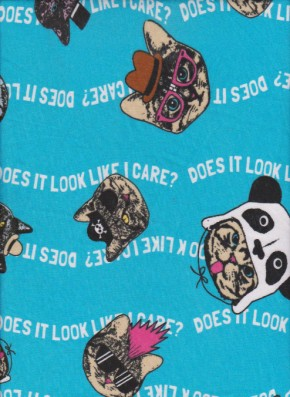 Dogs and Cats on Blue Cotton Jersey