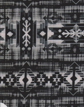 Ethnic Print  ( Black and Gray ) on Double Brushed Poly Lycra Jersey