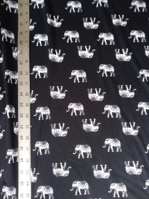 Elephants on Black Double Brushed Poly Lycra