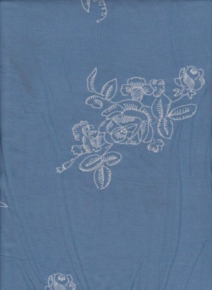 Embroidery Flowers on Blue Challis