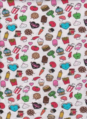 Feel Good Foods on White Cotton Lycra Jersey