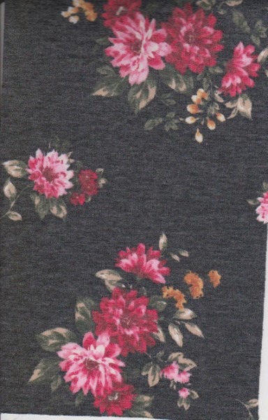 Florals on Charcoal  Double Brushed French Terry