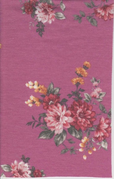 Florals on Dark Mauve  Double Brushed French Terry