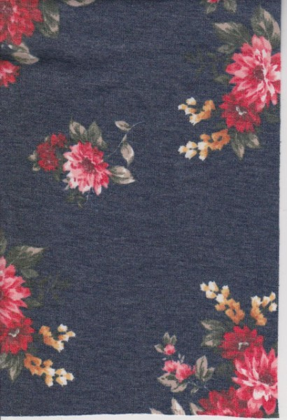 Florals on  Denim Blue Double Brushed French Terry