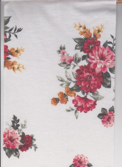Florals on White Double Brushed French Terry