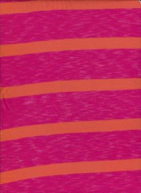 Fuchsia and orange Stripe on Rayon Poly Lycra Jersey