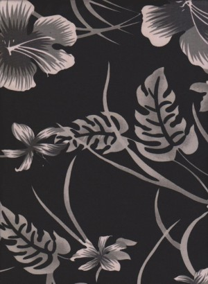 Florals and Leaves  on Black  ITY ( Poly /Lycra Jersey)