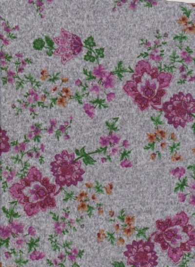 Florals on  Heather Gray Hacci Knit Brushed