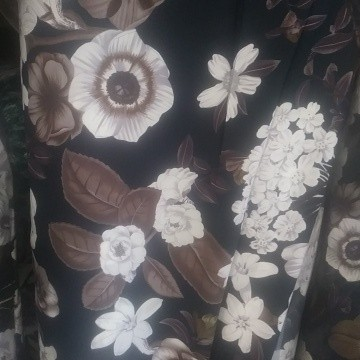 Florals White and Brown Wool Dobby