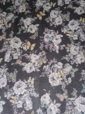 Florals and Butterfly on Charcoal Gray  Double Brushed French Terry