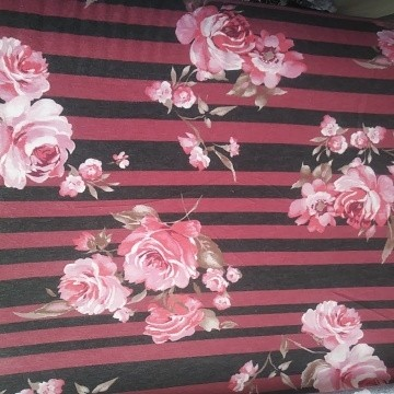 Florals and Stripe Pink and Black on Double Brushed Poly Lycra French Terry