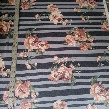 Florals and Stripe on Double Brushed Poly Lycra French Terry