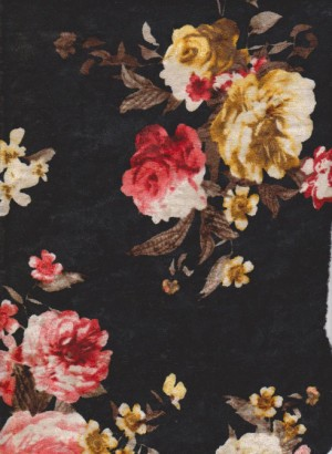 Florals on Black Crushed Velvet