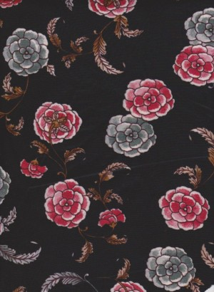 Florals on Black Techno Knit