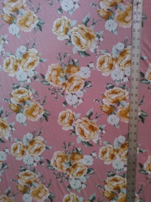 Florals on Blush Pink on  Double Brushed Poly Lycra Jersey