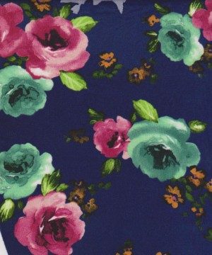Florals on Dark Purple Double Brushed Poly Lycra