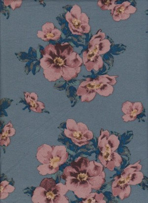 Florals on  Slate Blue Double Brushed Poly Lycra Jersey