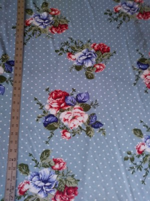 Florals and Dots on Slate Blue Double Brushed Poly Lycra