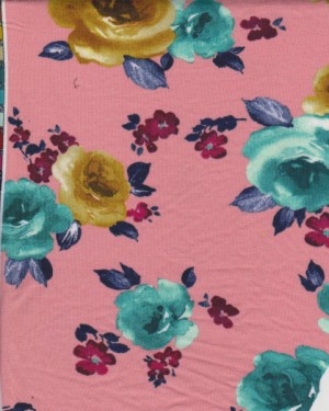 Florals 2  on Double Brushed Poly Lycra