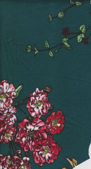 Florals on Emerald Double Brushed Poly Lycra