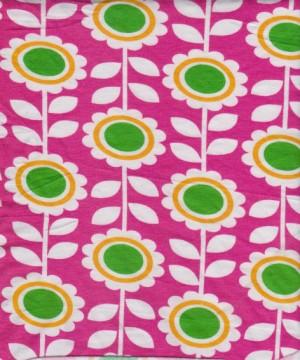 Florals on Fuchsia Cotton Lycra Jersey