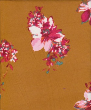 Florals on Gold Yellow Double Brushed Poly Lycra