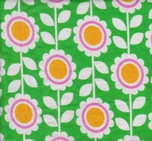 Florals on Green Cotton Lycra Jersey