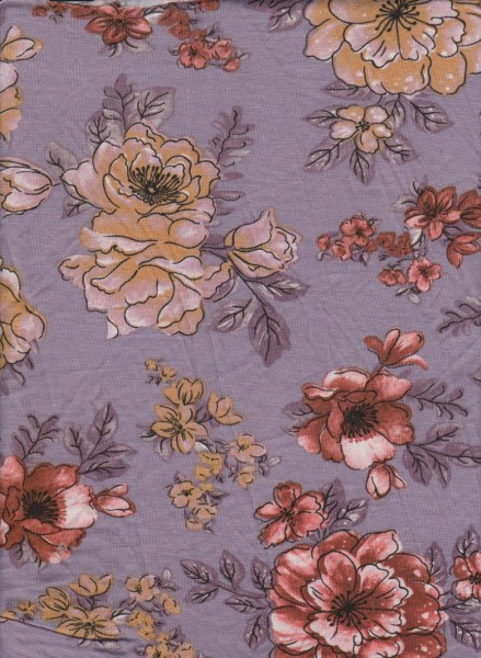Florals on Lavender  Rayon Lycra Jersey