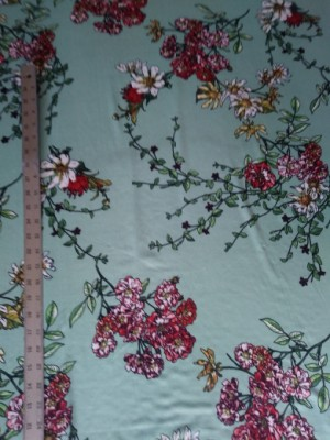 Florals on Mint Double Brushed Poly Lycra